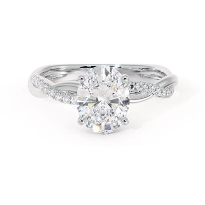 Twisted engagement ring with oval diamond